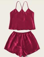 Satin Cami Top & Shorts PJ Set - Burgundy