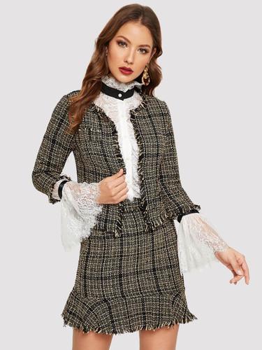 Frayed Trim Tweed Blazer & Skirt Set - Yellow