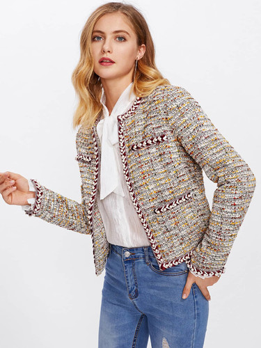 Pearl Beading Braided Tape Trim Tweed Blazer