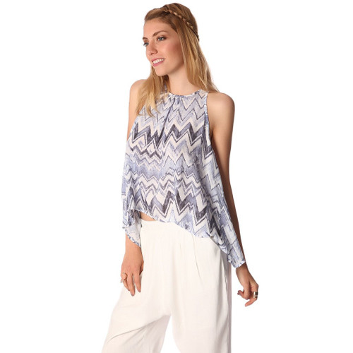 Blue top with dip back in zig zag print