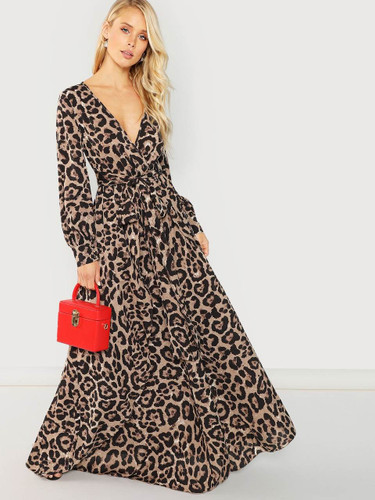Surplice Neck Leopard Print Overlap Dress