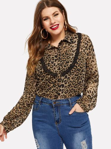 Plus Tie Neck Contrast Frill Trim Leopard Blouse - Multicolor