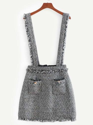 Fringe Trim Tweed Skirt - Grey