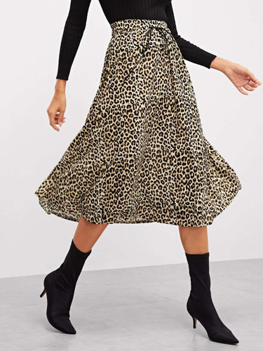 Wide Waistband Leopard Print Skirt - 995221a2