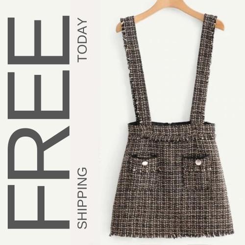 Fringe Trim Tweed Skirt - Multicolor