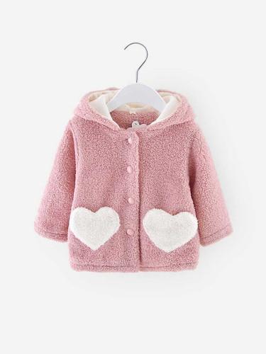 Toddler Girls Heart Pattern Teddy Hooded Coat