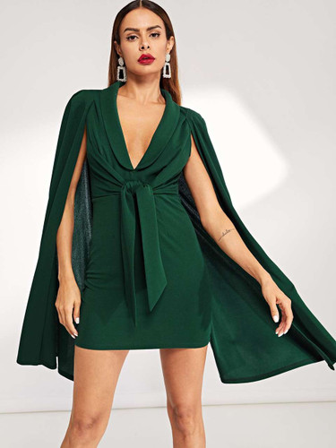 Cape Sleeve Plunging Neck Dress