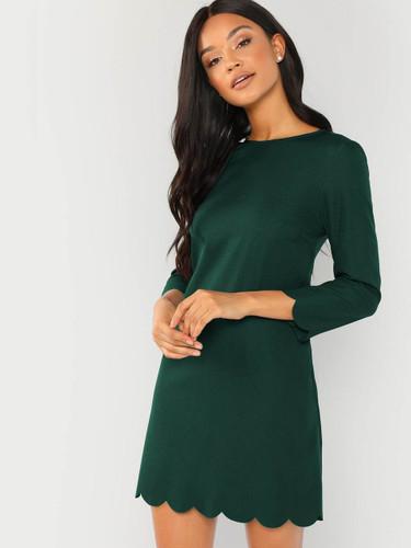 Scallop Trim Tunic Dress