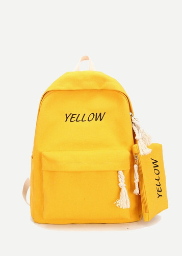 Slogan Embroidered Backpack With Pencil Case - Yellow