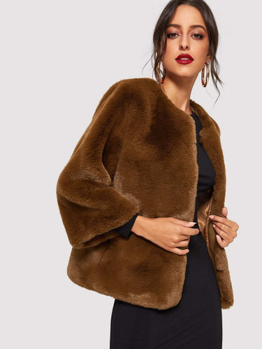 Open Front Solid Faux Fur Teddy Coat