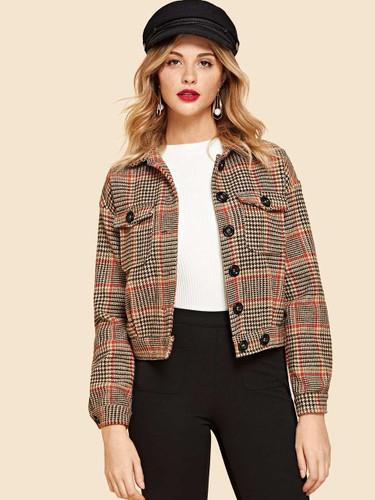 Flap Pocket Front Houndstooth Jacket