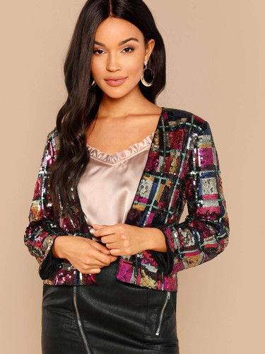 Sequin Long Sleeve Blazer