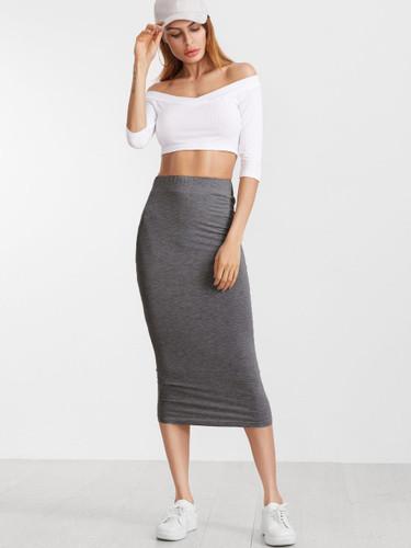 Heather Grey Elastic Waist Jersey Pencil Skirt - Grey