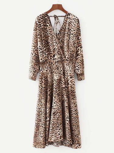 Leopard Print Surplice Neckline Dress