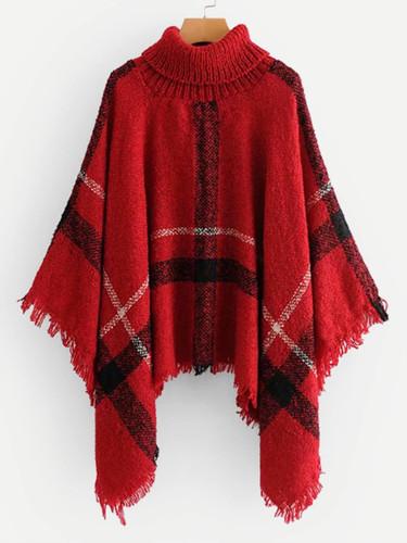 Raw Hem Poncho Sweater