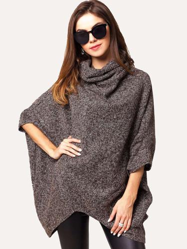 High Neck Dip Hem Poncho Sweater