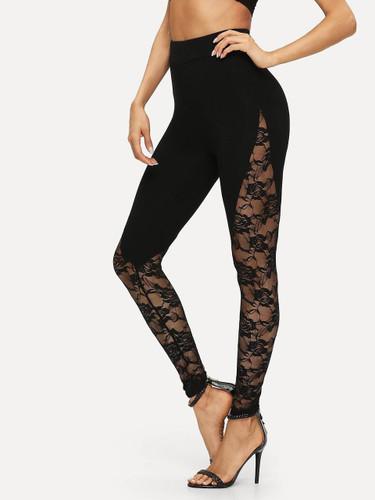 Sheer Floral Lace Insert Leggings