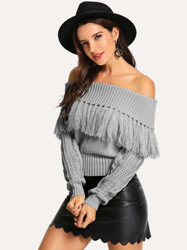 Off Shoulder Fringe Sweater - Grey - Grey
