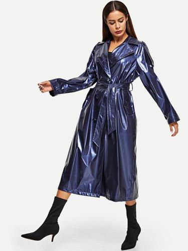 Self Belted Longline Metallic Rain Coat
