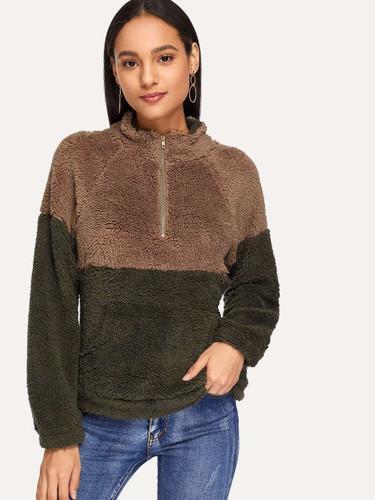 Drop Shoulder Quarter Zip Teddy Sweatshirt - Multicolor