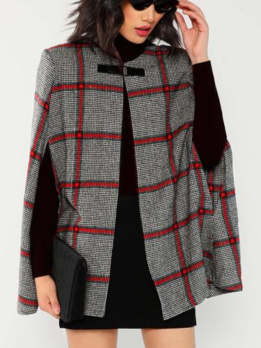 Plaid Poncho Coat - Black and White