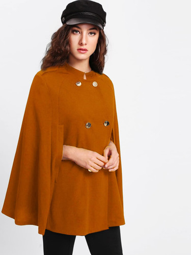 Double Breasted Cape Coat - Yellow