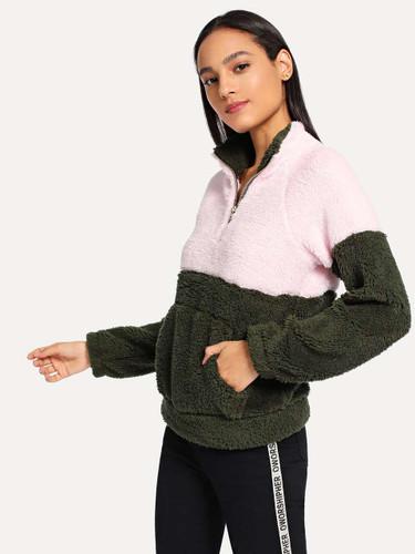 Drop Shoulder Quarter Zip Teddy Sweatshirt - 00d28ecb