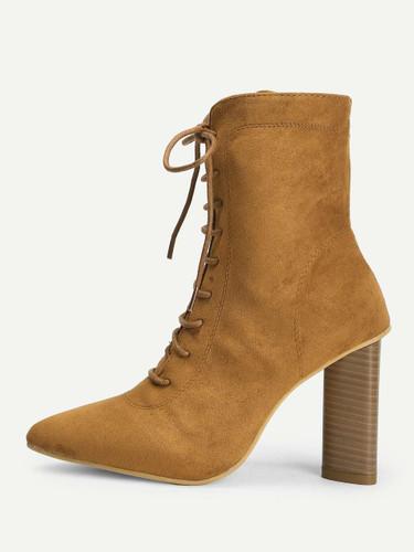 Lace-Up Plain Boots