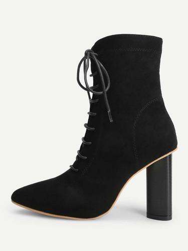 Lace-Up Plain Boots - Black