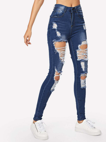 Ripped Bleach Wash Skinny Jeans - Blue