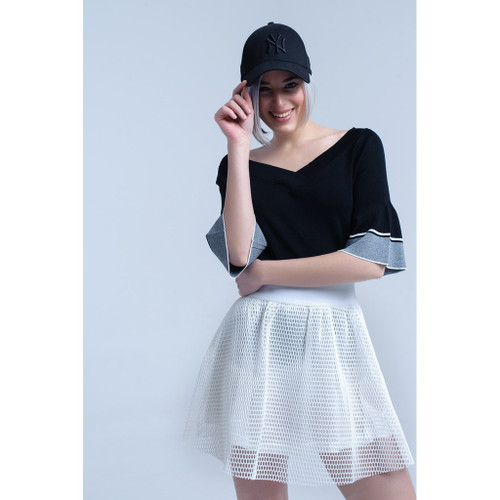 Black knit sweater with bell sleeve