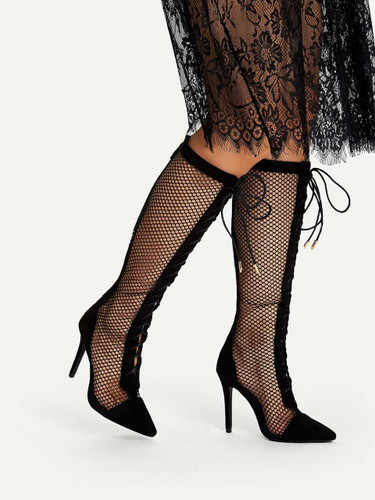Lace Up Fishnet Knee High Boots