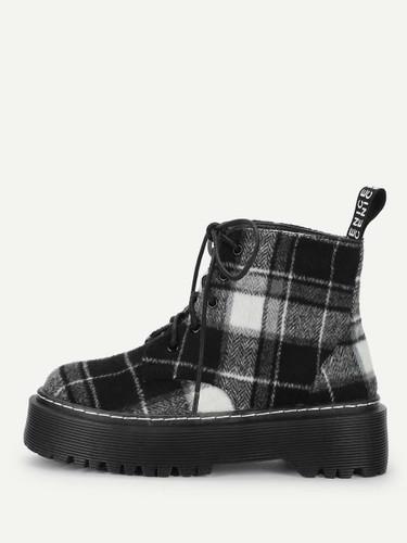 Plaid Lace-Up Boots