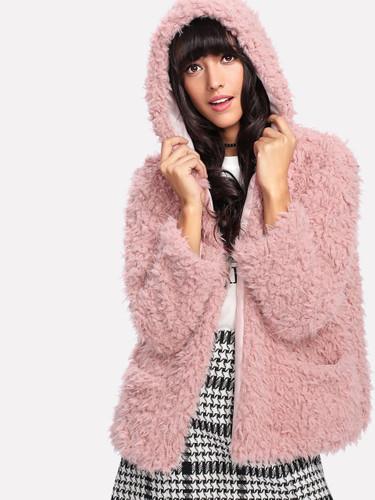 Faux Fur Open Front Hooded Teddy Coat