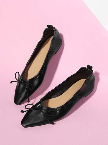 Bow Tie Flats - Black
