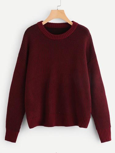 Plus Drop Shoulder Ribbed Knit Jumper