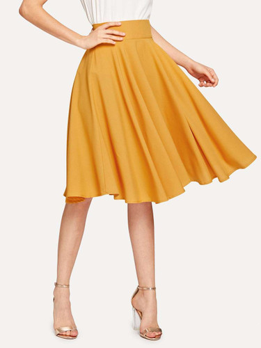 High Rise Wide Waistband Circle Skirt - Ginger