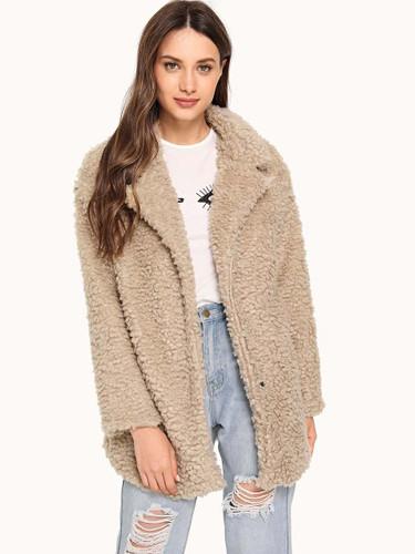 Notched Neck Teddy Coat