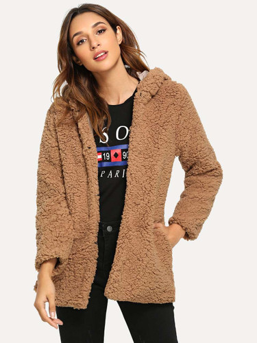 Open Front Hoodie Solid Teddy Outerwear