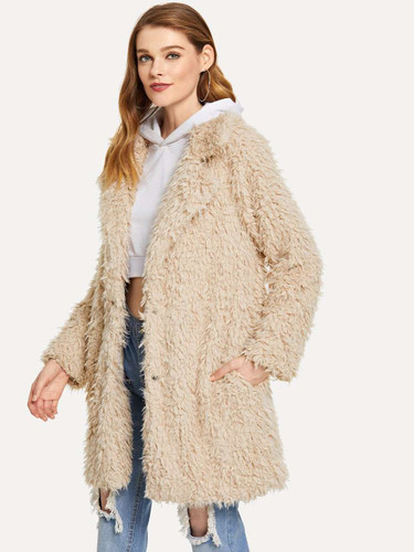Open Front Faux Fur Teddy Coat - Apricot
