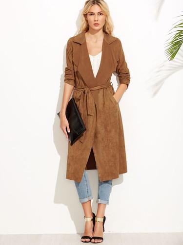 Brown Suede Self Tie Duster Coat