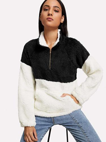 Drop Shoulder Quarter Zip Sweatshirt - Black and White - Black and White