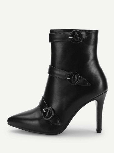 Buckle Strap Detail Stiletto Ankle Boots - Black