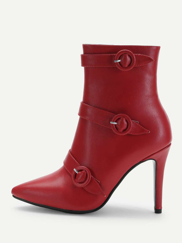 Buckle Strap Detail Stiletto Ankle Boots - Red