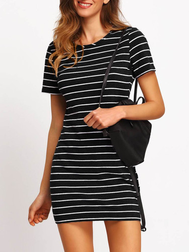 Striped Fitted Tee Dress - Black and White