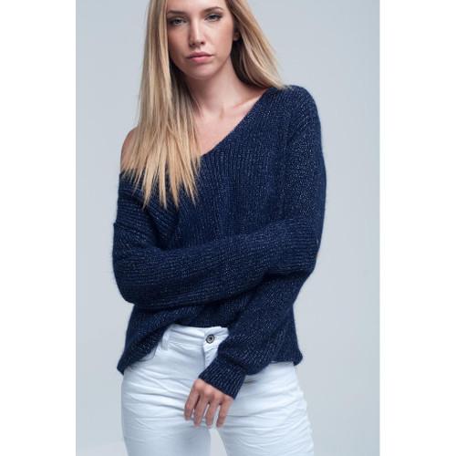 Knitted shiny dark navy sweater