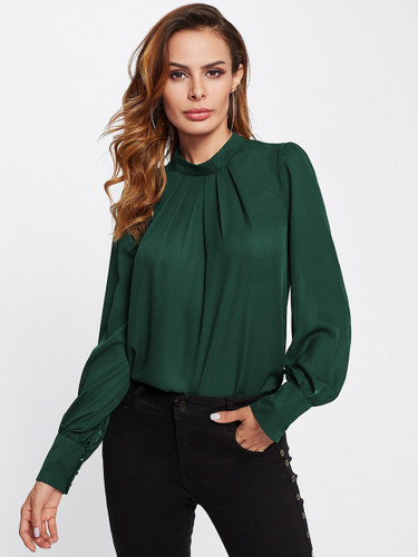 Stand Collar Pleated Blouse - Green