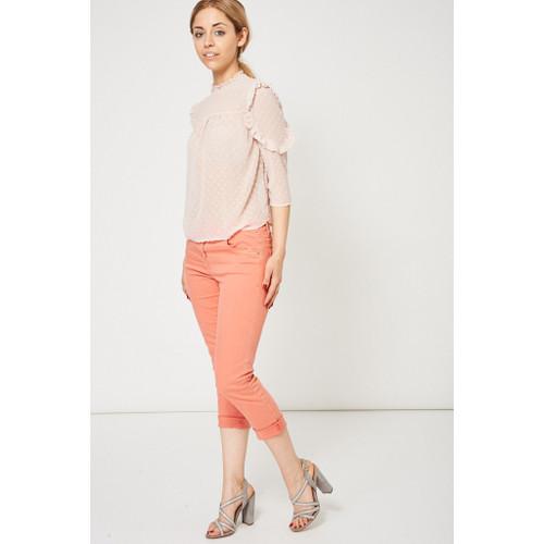 Coral Pink Raw Hem Straight Leg Jeans