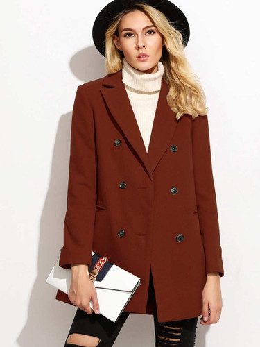 Double Breasted Notched Collar Coat
