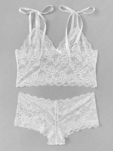 Scalloped Trim Floral Lace Lingerie Set - White